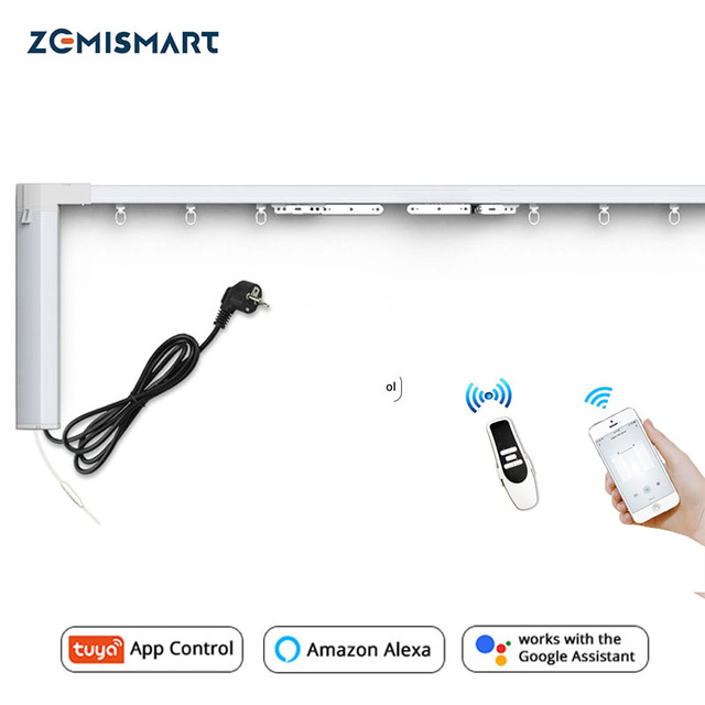 Zemismart New Design WiFi Curtain Motor Tuya Smart Life Customized Electric Curtains Track with RF Remote Alexa Echo Control