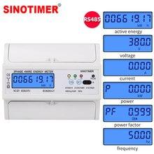 Din Rail Elektrische Drie Fase Energy Meter RS485 kWh Verbruik Power Spanning Stroom Wattmeter Monitor Modbus RTU 380V 400V