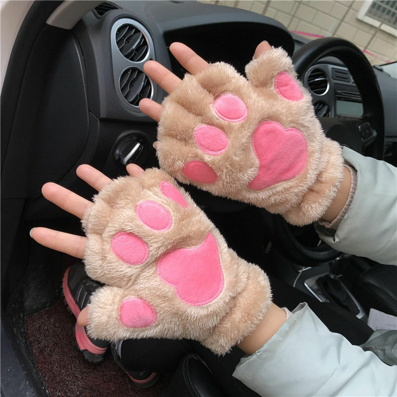 Hot Women Cute Cat Claw Paw Plush Mittens Short Gloves Half Finger Christmas Winter Soft Plush Short Gloves Costume Half Finger