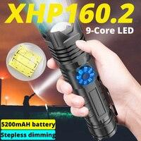 XHP160.2-linterna LED potente de 9 núcleos, 5000mAh, recargable por USB, XHP50.2, linterna con Zoom, luz de Flash táctil con batería 26650