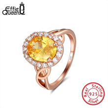 Effie Queen Women Shining Engagement Rings with Yellow Crystal Stone Round AAAA Zircon 925 Silver Ring Jewelry Gift DSR174