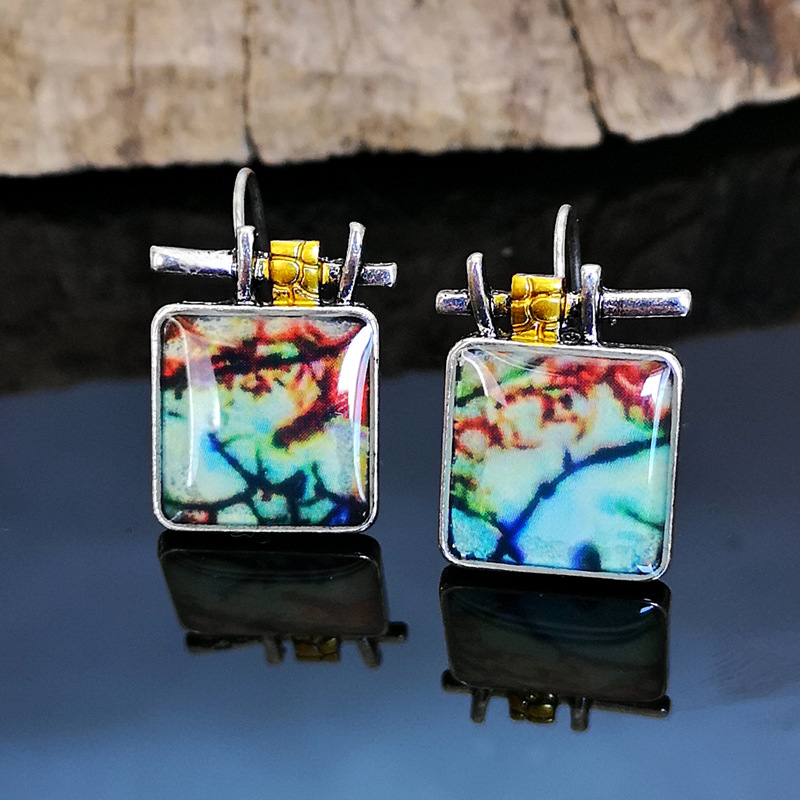 Classic Women Dangle Earring Fashion Lady Mystic Fantasy Two Tone Square Colorful Drop Earrings Vintage Jewelry For Women Gift