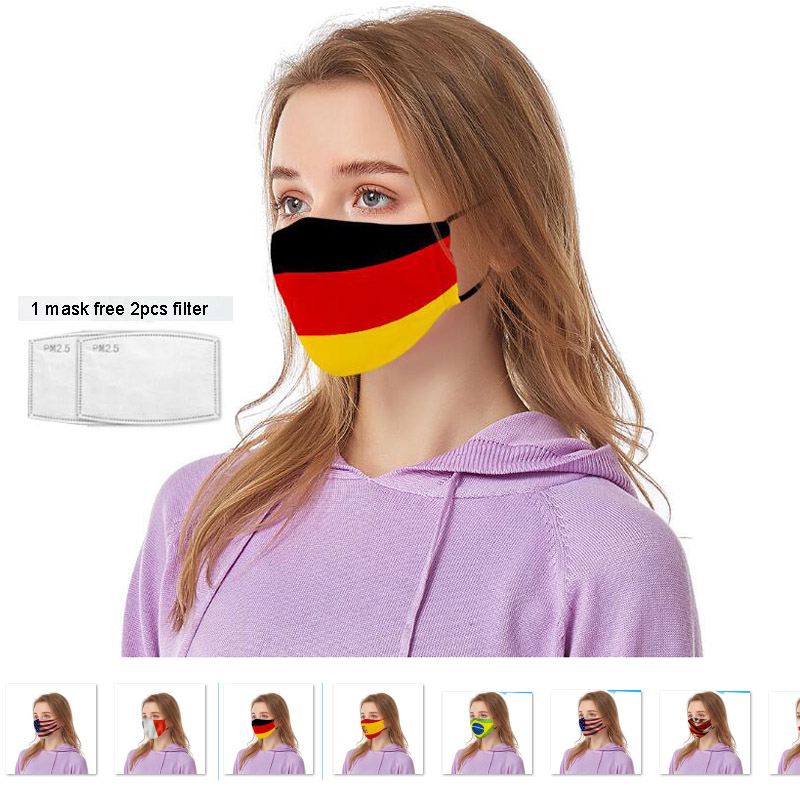 2pcs A Lot Printing Different Country Flag Masks Germany Flag Face Mask Free Insert Filters Outside Face Wear Protect Adult Mask