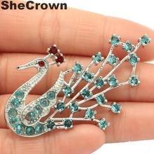 58x33mm Long Big Heavy Created PeacockShape Rich Blue Aquamarine Ruby CZ Gift Silver Brooch
