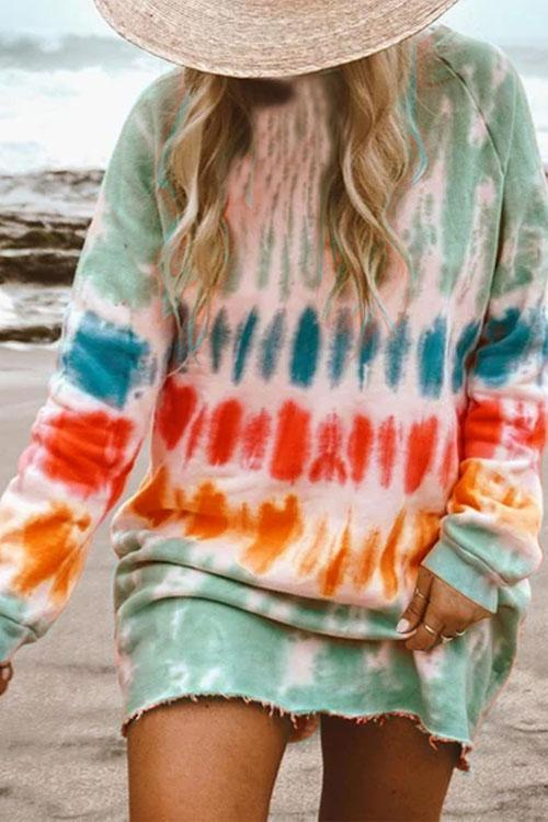 hirigin New Casual Rainbow Tie Dye Print Sweatshirt Dress for Women Long Sleeve O-Neck Mini Dress Female Loose Straight Dress 3