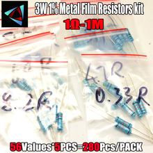 1R-1M ohm 3W 1% DIP METAL film resistor,56valuesX5pcs=280pcs, RESISTORS Assorted Kit, Sample bag