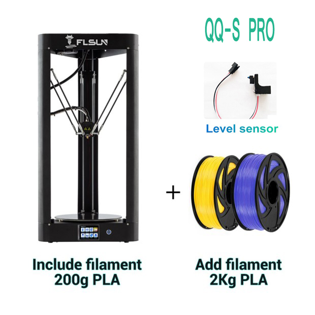 QQ-S Pro Flsun Delta 3D Printer High Speed New Auto-leveling Switch Large Print Size kossel 3d-Printer Touch screen