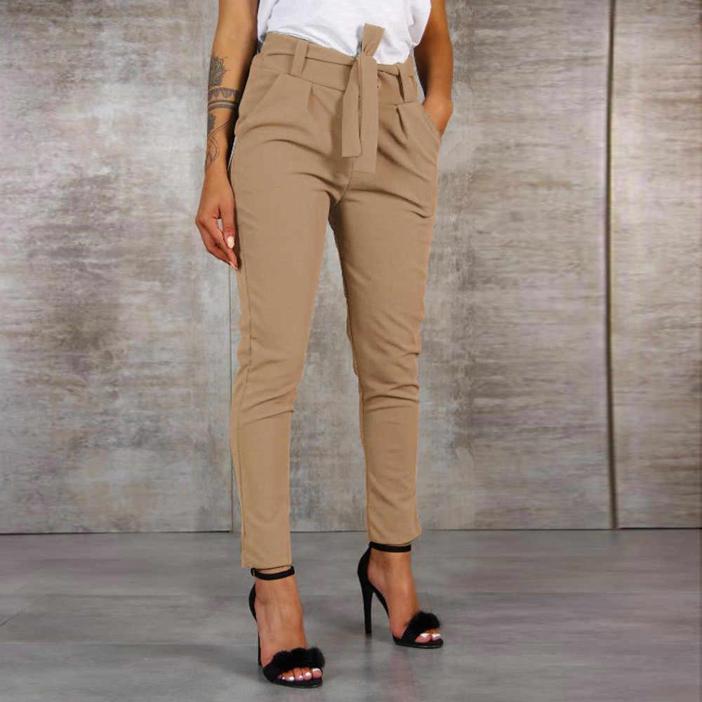 2019 Fashion Vrouwen Hoge Taille Harembroek Vrouwen Bandage Elastische Taille Streep Casual Broek #1001