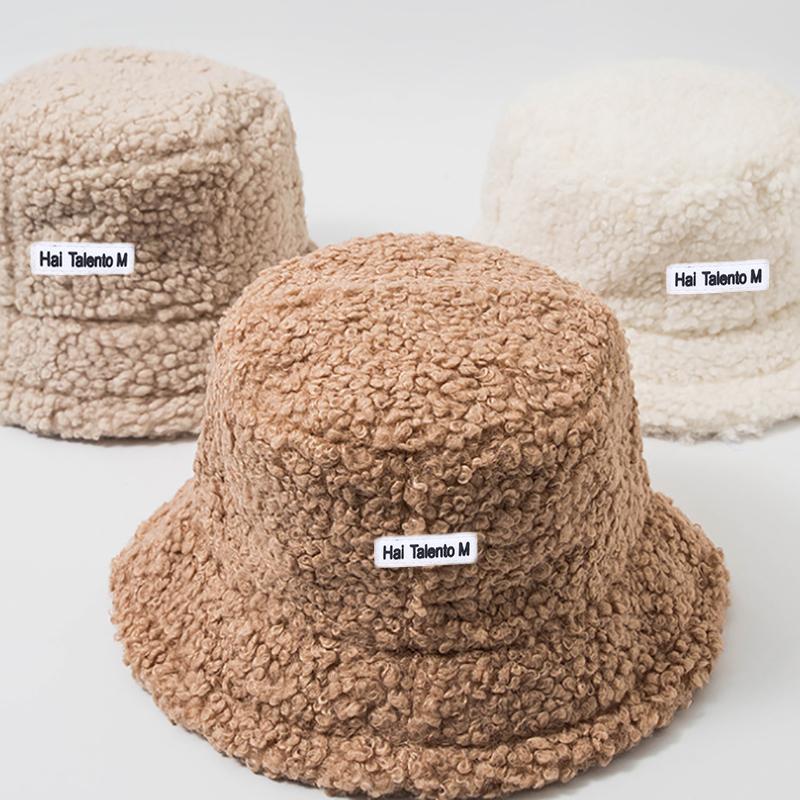 Lamb Faux Fur Bucket Hat Winter Warm Teddy Velvet Hats for Women Lady Thicken Bob Panama Outdoor  Fisherman Hat Caps