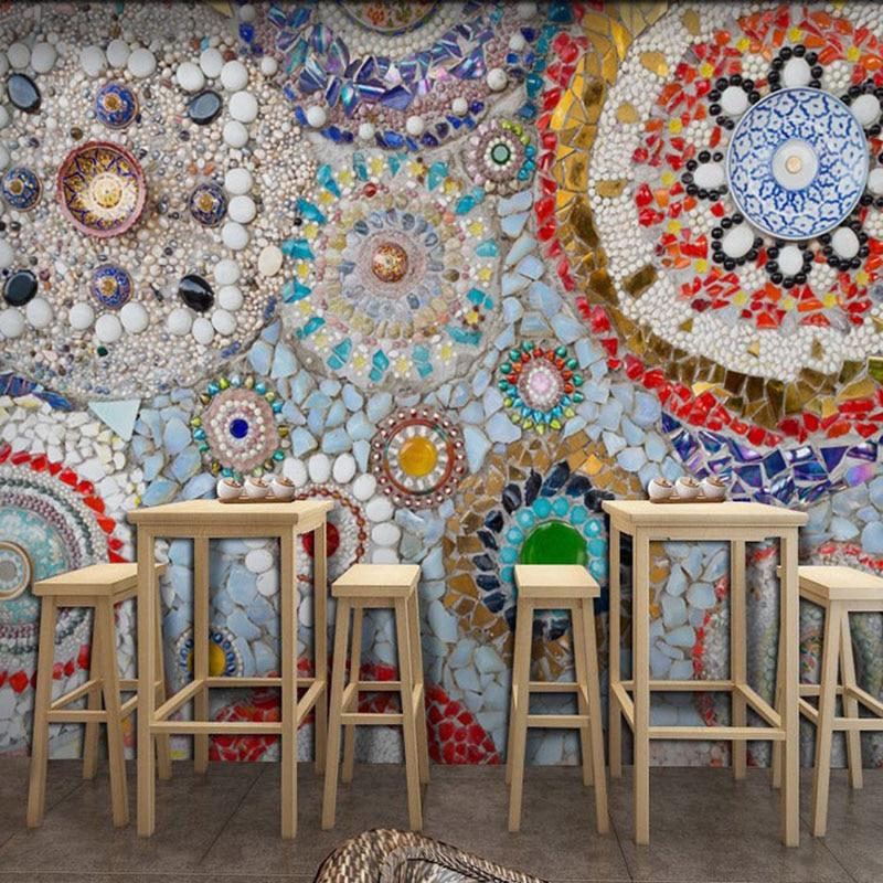 European 3d Stereo Porcelain Like Cafe Wallpaper Retro Ancient Ethnic Style Thangka Art Living Room Tv Background Wallpaper Wallpapers Aliexpress