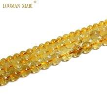 Güzel AAA 100% doğal Citrine yuvarlak taş boncuk sarı kristal takı yapımı için diy bilezik kolye 6/8/10mm Strand 15''