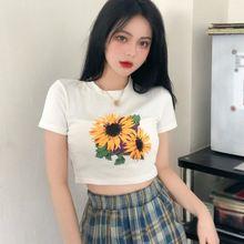 Женская летняя футболка с коротким рукавом и цветочным принтом