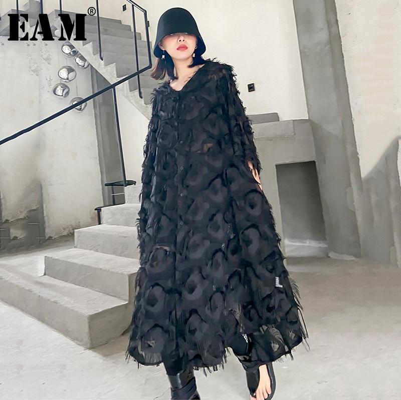 [EAM] Women Black Feather Split Big Size Dress New V-Neck Three-quarter Sleeve Loose Fit Fashion Tide Spring Summer 2020 1T159