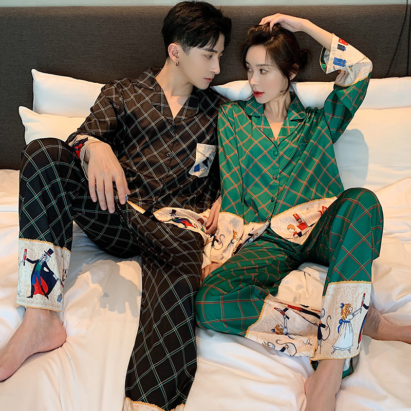 Unisex Adult Couple Pajamas Summer Long-sleeved 2 Pieces Ice Silk Female Cartoon Pajamas Set Long Sleeve Men Home Service Suit
