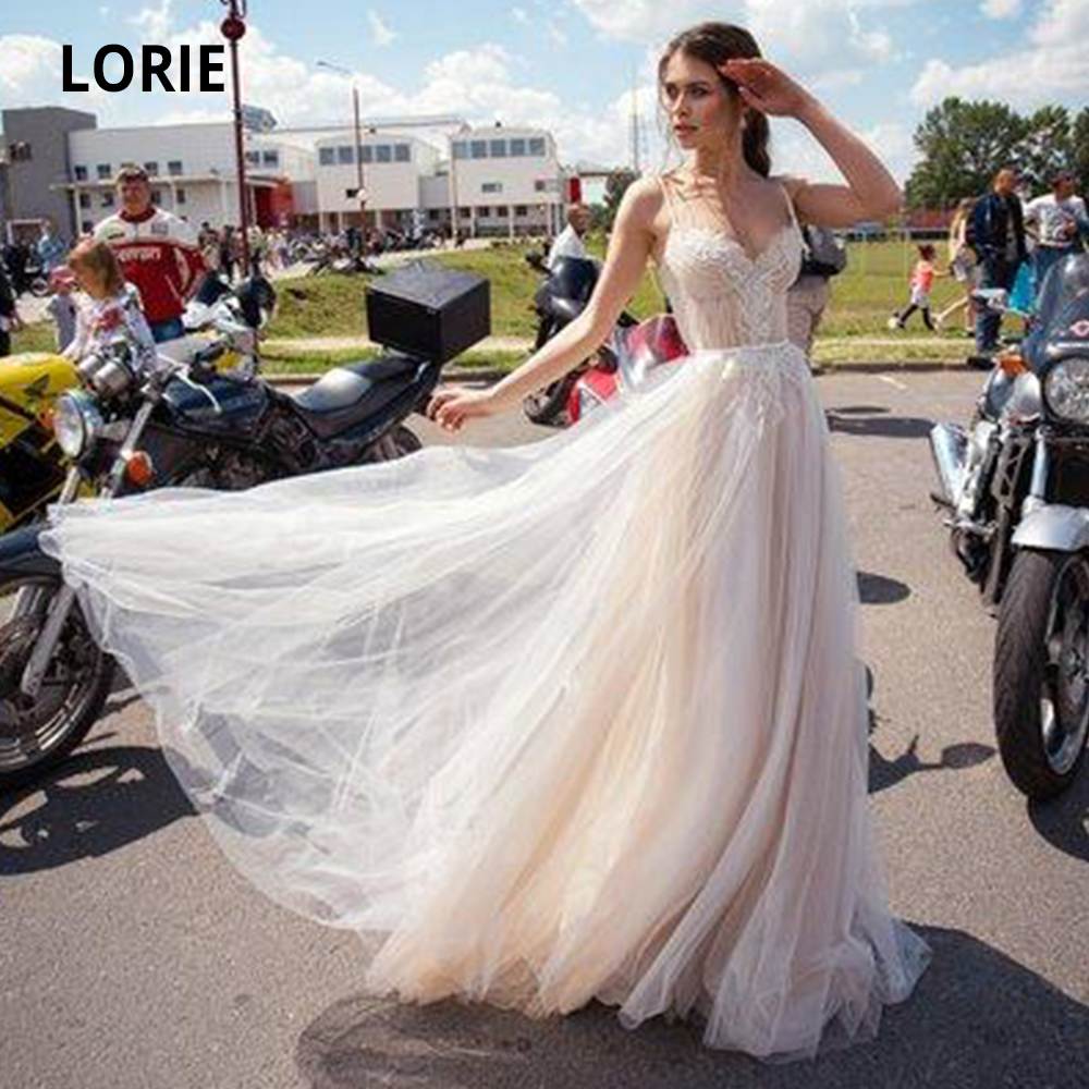 LORIE 2020 Boho Wedding Dresses A Line Tulle Appliqued Lace Beach Wedding Dress Sleeveless Bohemian Bridal Gowns Spaghetti