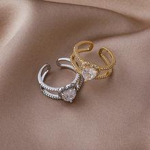 2021 coreano novo requintado cristal amor anel moda temperamento simples versátil anel elegante senhora jóias