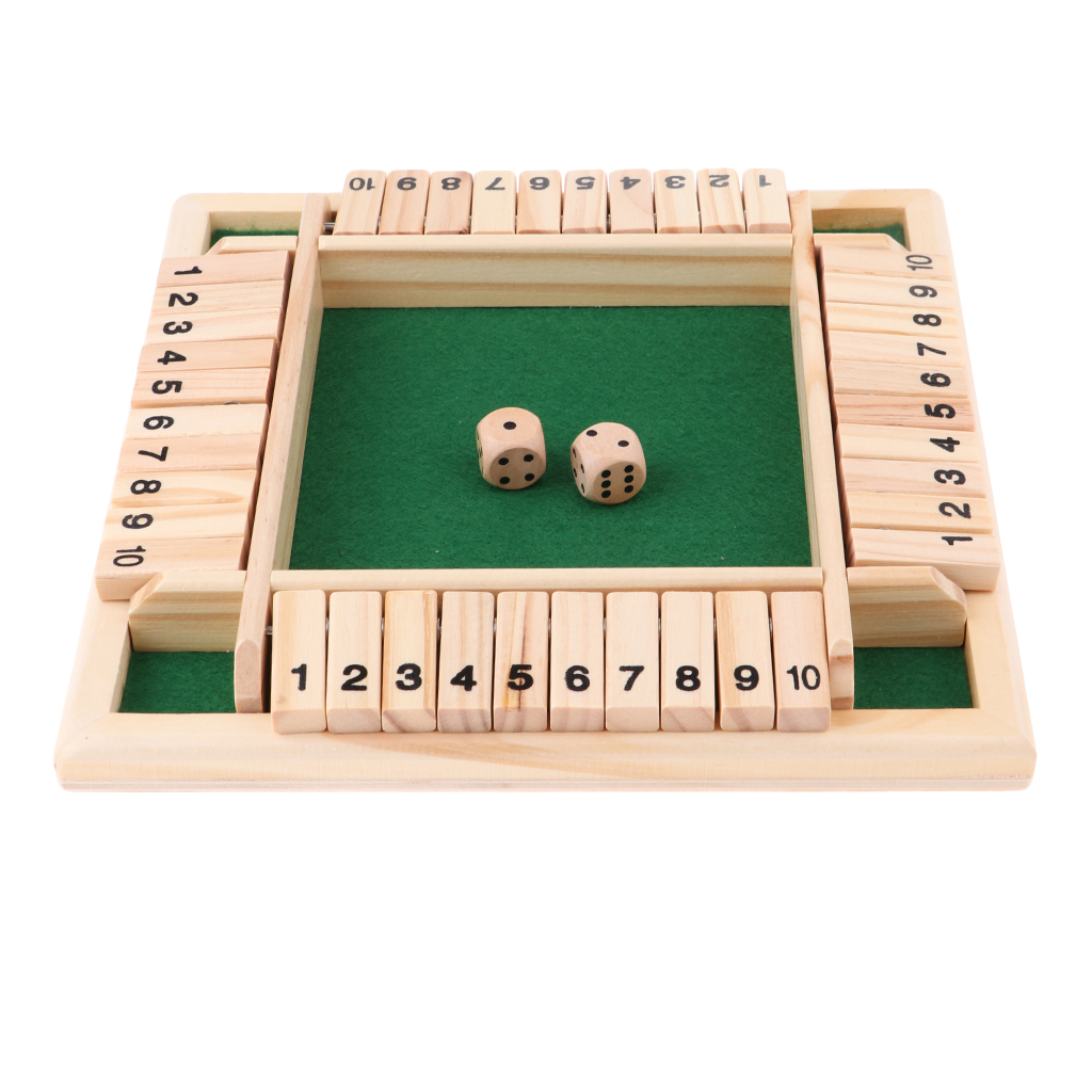 Deluxe Four Sided 10 Numbers Shut The Box Board Game Set for Adults Families
