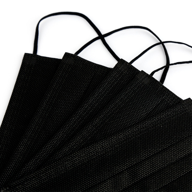 10/50/100 Pcs Mouth Mask Disposable Black Cotton Mouth Face Masks Non-woven Mask  3 Filter Activated Anti Pollution 3