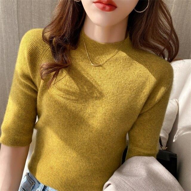 Women's Cashmere Turtleneck Short Sleeve Knitted Pullover Tee Base Wool Cashmere  Sweater Women Jumper 3