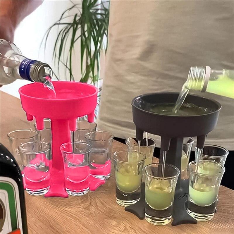 משקאות Dispenser 6 Shot זכוכית יין ויסקי באר Dispenser מחזיק שתיית משחקים כלים עבור חג המולד בית המפלגה בר Shot זכוכית