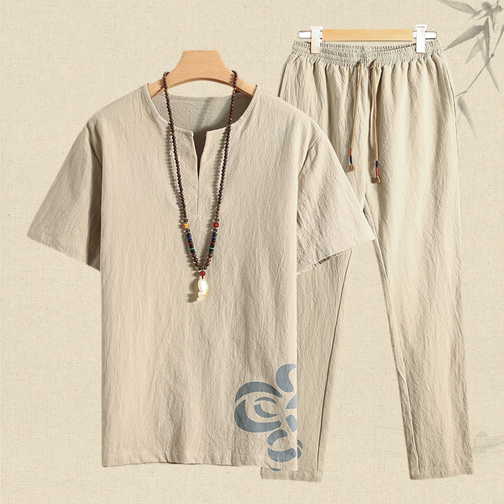 Summer Men's Casual Shorts Suit Men Summer New Cotton And Hemp Short Sleeve Long Pants Fashion Comfortable Suit 4XL 1.17
