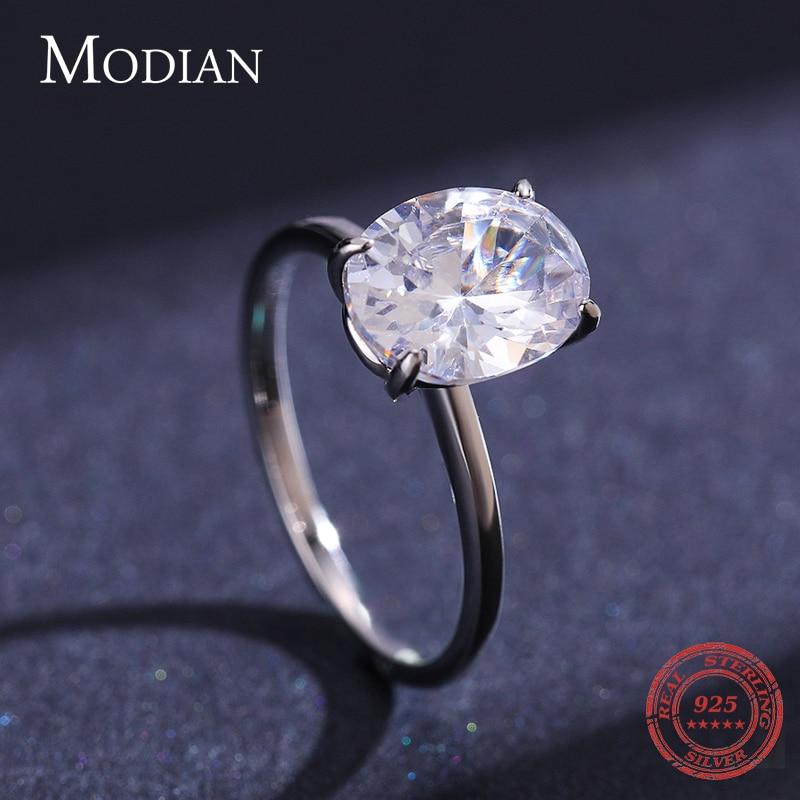 Modian basique 925 en argent Sterling grand luxe ovale coupe clair zircone bague pour les femmes fiançailles bague de mariage promesse anneau 4