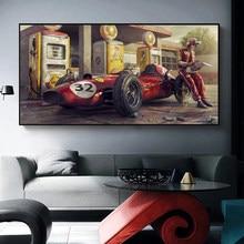 Gra klasyczny samochód plakat i druk Ferrari classic F1 samochód wyścigowy obraz na płótnie s wall artystyczny obraz home decor