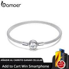 [Adicionar ao carrinho ganhar telefone] bamoer clássico 100% 925 prata esterlina amor para sempre cobra pulseiras de corrente 17cm 19cm scb105