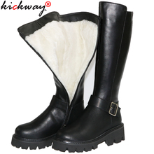 Winter Shoes Snow-Boots Shearling Genuine-Leather Black Fashion Women Ladies Kickway