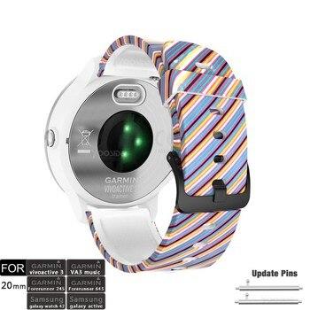 Vivoactive 3 Saat Kayışı 20mm Desen Silikon Su Geçirmez Bileklik Kayışı Garmin Vivoactive 3, öncüsü 645/645 Müzik