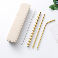 Eco Friendly Stainless Steel Straw with Cleaner Brush Reusable Metal Drinking Straws Black Random Color Purple Box