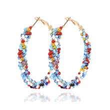 MANILAI Bohemia Round Beaded Hoop Earrings Women Handmade Resin Beads Statement Big Jewelry Wholesale Gift