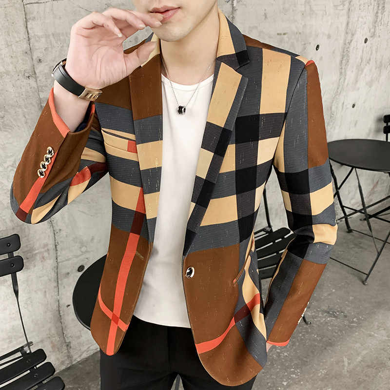 Mens Suits Blazers Lente En Herfst 2020 Nieuwe Mode Britse Stijl Contrast Kleur Plaid Splicing Patroon Slim Casual Mannen Blazer