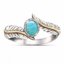 цены New Best Selling European And American Luxury Feather Turquoise Ring For Women Retro Thai Silver Jewelry US Size 5-11