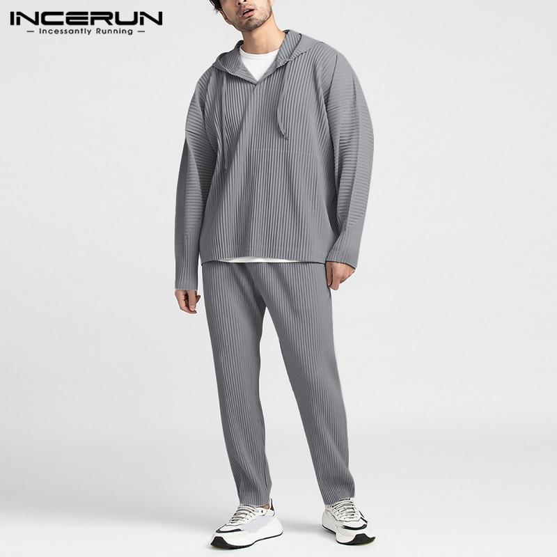 INCERUN Men Sets Solid Color Loose Long Sleeve Hooded Sweatshirts Pants Streetwear Folds Casual Men Tracksuit Sets Breathable
