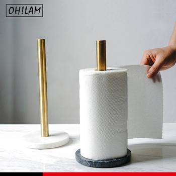 Uchwyt na ręcznik papierowy na blat kuchenny Top-papier kuchenny dozownik ręczników marmurowa podstawa do łazienki standardowe rolki ręczników papierowych tanie i dobre opinie ceramic NONE CN (pochodzenie) Uchwyty na papier