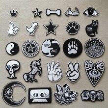 (46 стилей на выбор) черно-белые нашивки с вышивкой для футболки термоклейкие нашивки с полосками Аппликации одежды таблички значки