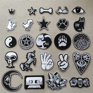 (46 Styles can Choose) Black and White Embroidery Patches for T-shirt Iron on Stripes Appliques Clothes Stickers Clothing Badges