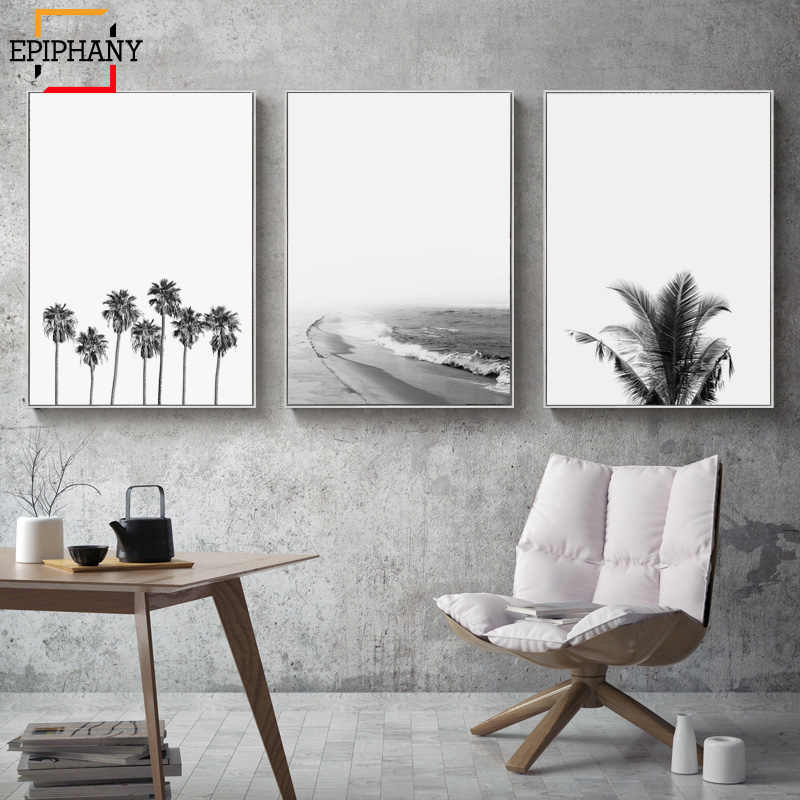 Modern Wall Art Prints Coastal Poster Black and White Ocean Beach Print Tropical Decor Minimalist Wall Pictures for Living Room