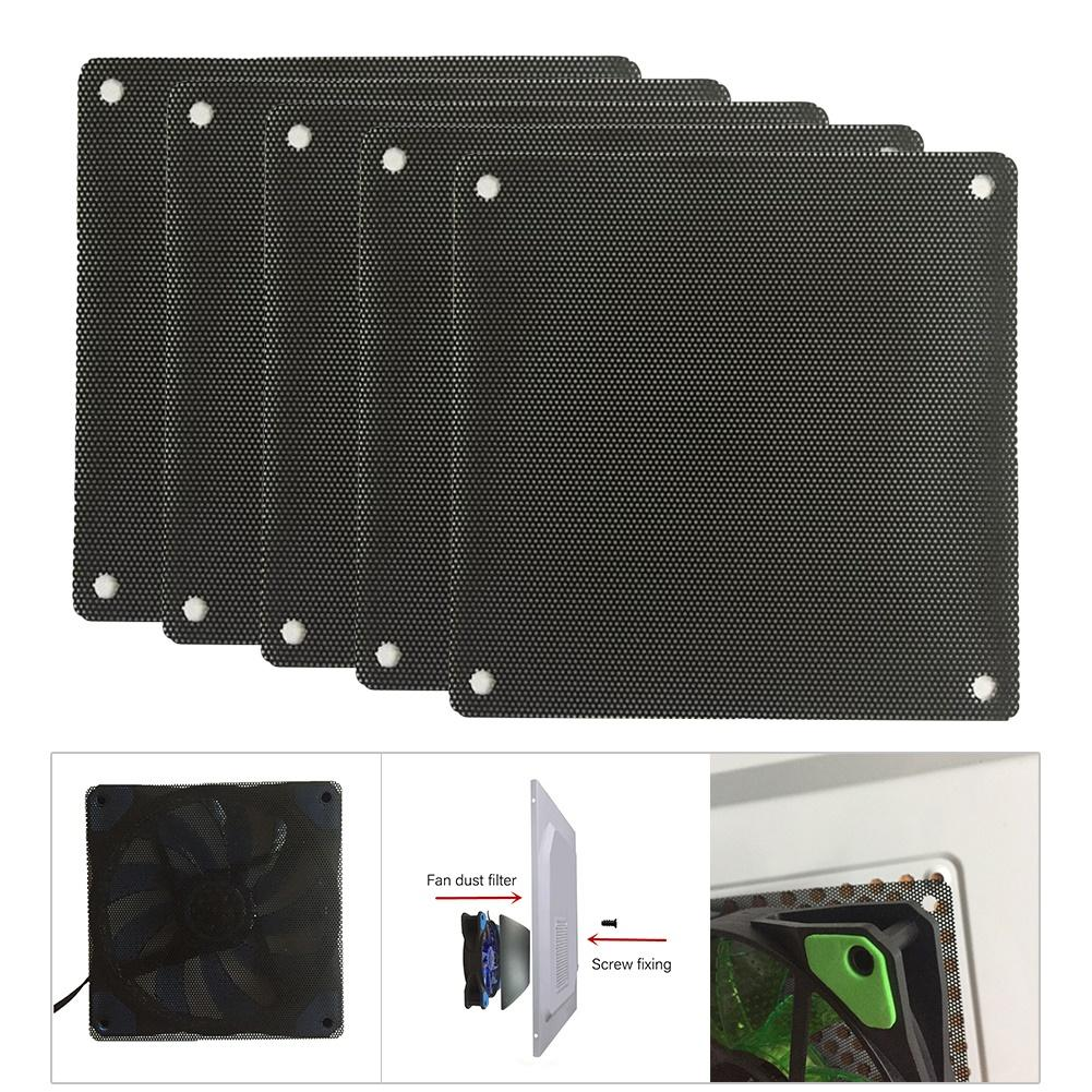 5PCS Home Chassis Cooling Dust Filter Fan Cover Magnetic PVC Net Guard Dustproof Accessories Computer Mesh Noise Reduction