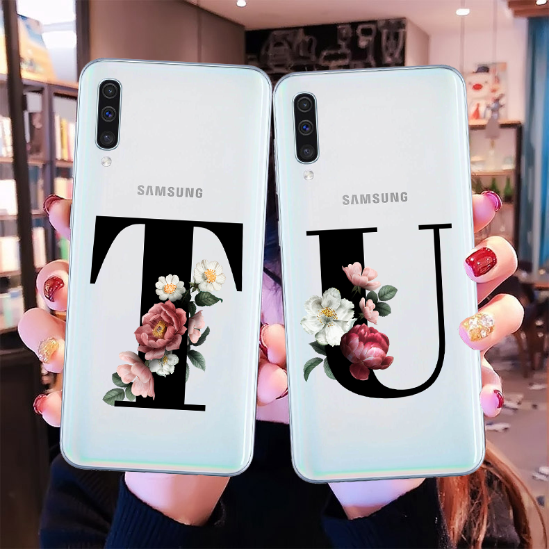 Custom letter name combination Flowers Floral Silicone TPU Phone Ccover Case Samsung A20 A30 A50 A10 A6 A8Plus A750 2018 A51 A71 image