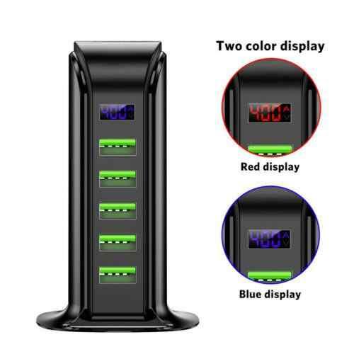 Kuulee شاحن USB متعدد محور LED عرض USB حامل محطة شحن العالمي الهاتف المحمول سطح المكتب جدار المنزل شواحن الاتحاد الأوروبي الولايات المتحدة التوصيل