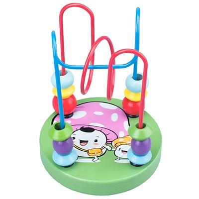 Деревянные игрушки Монтессори, деревянные круги, бусина, проволока, лабиринт, американские горки, Обучающие деревянные пазлы для мальчиков и девочек, детские игрушки 6+ месяцев - Цвет: mushroom