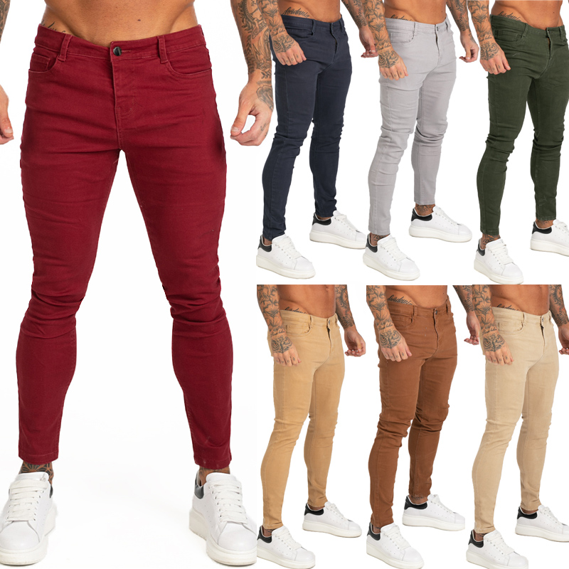 GINGTTO Red Jeans Men Colored Jeans Skinny Elastic Waist Super Spray On Skinny Leg Jeans Pants For Men 2019 New Solid Color