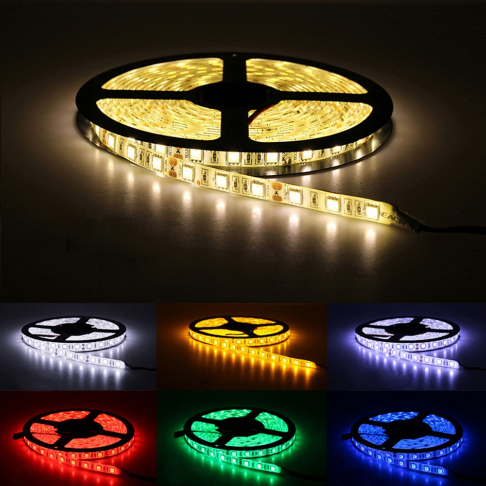 H2933719ce9b14d68a8a18669e5e335fcS Led Strip 5050 RGB Lights DC12V Flexible Home Decoration Lighting Waterproof Led Tape RGB/White/Warm White/Blue/Green/Red