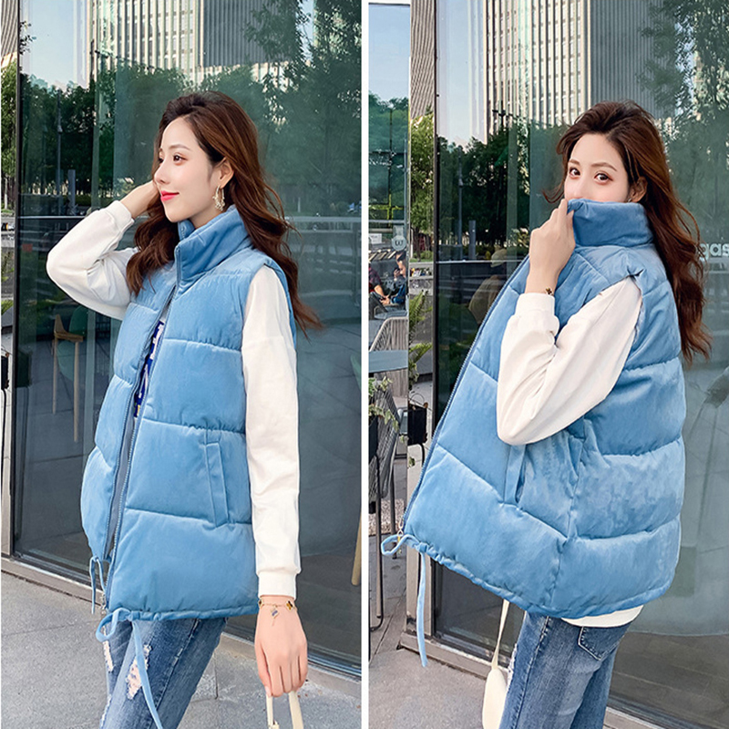 Winter Vest Women Autumn Short Stand Collar Velvet Cotton Vest Female Outwear Waistcoat Solid Zipper Sleeve Jacket Coat K112104