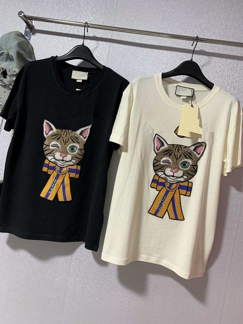 Have Logo 2020 Fashion Summer T-shirt Woman Casual Cotton Tshirt Letter Sequins Embroidery Cat Print Tops Tees Women's Tshirts