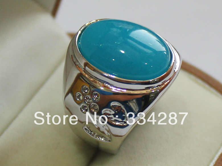 สวย Aquamarine Blue Double-heart shape stone ผู้ชายของขวัญเครื่องประดับแหวน 13X18 มม.ลูกปัด 18KGP