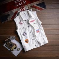Fashion 2019 Summer men cowboy vest Korean sleeveless embroidery vest slim white ticket denim vest clothes colete masculino