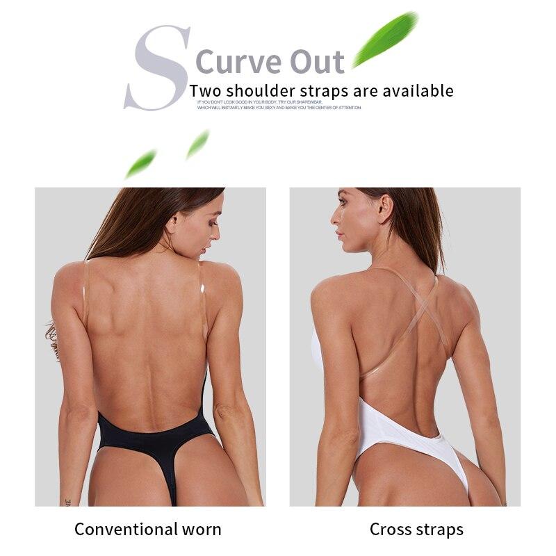Image 4 - waist trainer shaper Body tummy Shaper Shapewear Faja women Deep V Bodysuit Clear Strap Backless Plunge Thong Push Up padded Bra-in Bodysuits from Underwear & Sleepwears